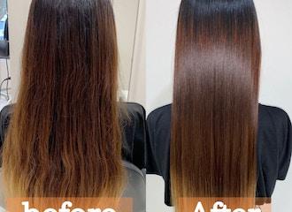 """鎌倉で""""一番""""髪質改善が得意なサロン<br> 一回の施術で髪の毛を綺麗にします<br>※写真の仕上がりはアイロンを通していません。"""
