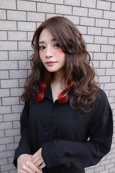 Lia&汐見悠佑 小顔カット+インナーカラー