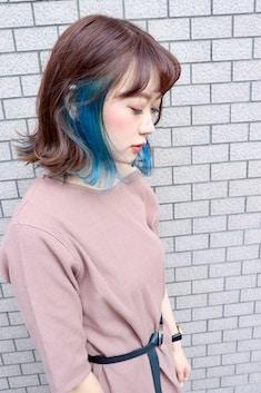 Lia&汐見悠佑 小顔効果 大人可愛いブルーインナーカラー