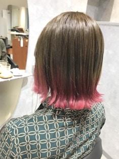 【インナーカラー】テールカラー×ピンク